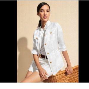 JMclaughlin White Linen Safari Jacket
